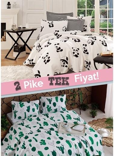 Eponj Home 2li Pike Tek Kişilik Panda + Kaktüs  Beyaz